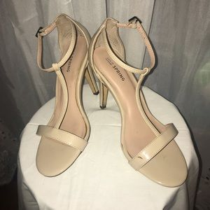 Call It Spring Nude T-Strap Heels Sandals Size 7
